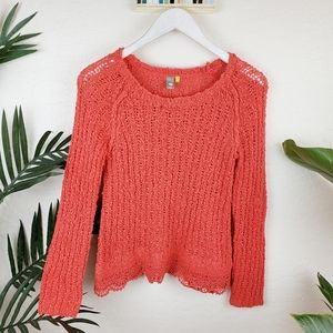 Anthro Knitted & Knotted | Coral/Orange Sweater S